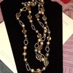 Necklace,  silver and beads are gray and pink